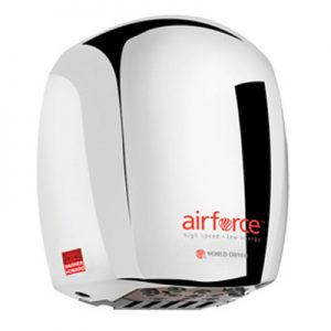 Airforce hand dryer in polished chrome finish