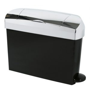 Ladies sanitary disposal bins in black with a chrome finish.