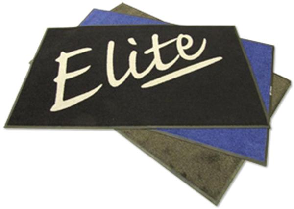 Elite washroom logo on a mat