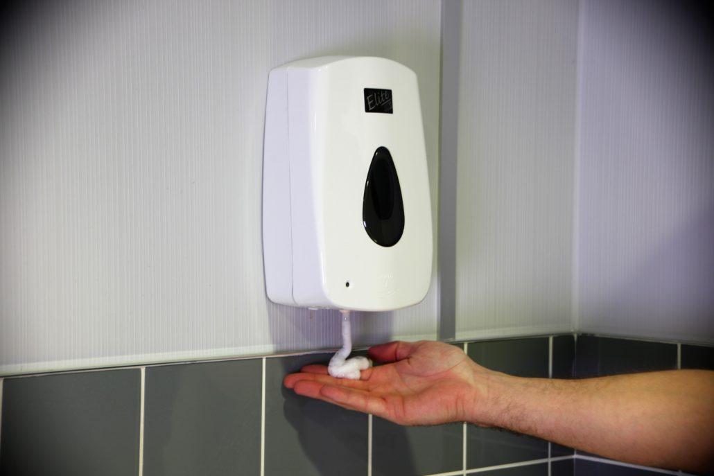 Washroom services: hand hygiene soap dispenser