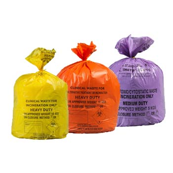 Controlled waste disposal in 3 coloured bags