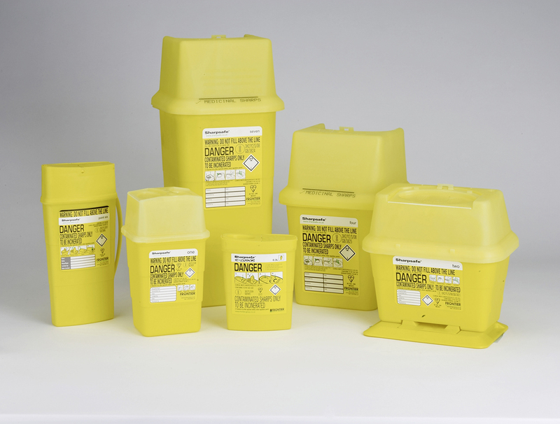Sharps disposal bins available in a variety of sizes.